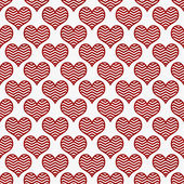 Red and White Chevron Hearts Pattern Repeat Background — Stock Photo
