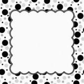 White, Gray and Black Polka Dots Frame with Embroidery Backgroun — Stock Photo