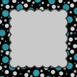 Постер, плакат: Teal Gray and Black Polka Dots Frame with Embroidery Background