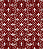 White and Red Fleur-De-Lis Pattern Textured Fabric Background — Stock Photo