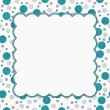 Постер, плакат: Teal Gray and White Polka Dots Frame with Embroidery Background