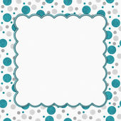 Teal, Gray and White Polka Dots Frame with Embroidery Background — Stock Photo