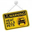 Warning of leaving a dog in parked cars — Stock Photo #43752507