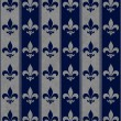 Navy Blue and Gray Fleur De Lis Textured Fabric Background — Stock Photo