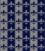 Azul marino y gris flor de lis con textura de fondo de tela — Foto de Stock