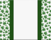 Marijuana Leaves Frame with Ribbon Background — Stock Photo