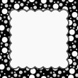 Постер, плакат: White Gray and Black Polka Dots Frame with Embroidery Backgroun