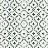 White and Dark Green Fleur-De-Lis Pattern Textured Fabric Backgr — Stock Photo