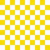 Bright Yellow and White Checkers on Textured Fabric Background — Stock Photo