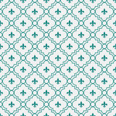 White and Dark Teal Fleur-De-Lis Pattern Textured Fabric Backgro — Stock Photo