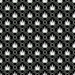 Black and White Marijuana Leaf Pattern Repeat Background — Stock Photo