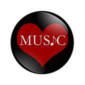 I Love Music button — Stock Photo