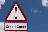 Credit Cards Caution Sign — Stock Photo