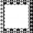 Black and White Fleur De Lis Pattern Textured Fabric with Embroi — Stock Photo #46694301