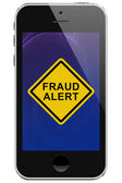 Cell Phone with Fraud Alert Message Warning — Stock Photo