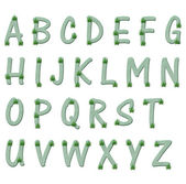 Green and marijuana leaf alphabet letters — Stock Photo