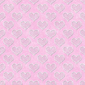 Pink and White Polka Dot Hearts Pattern Repeat Background — Stock Photo