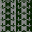 Hunter Green and Gray Fleur De Lis Textured Fabric Background — Stock Photo