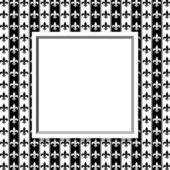 Black and White Fleur De Lis Pattern Textured Fabric with Frame — Stock Photo