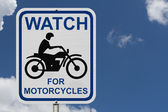 Watch For Motorcycles Warning Sign — 图库照片