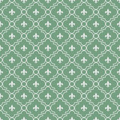 White and Green Fleur-De-Lis Pattern Textured Fabric Background — Stock Photo