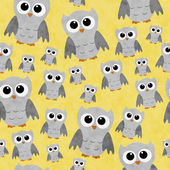 Gray Owls on Yellow Textured Fabric Repeat Pattern Background — Stock Photo