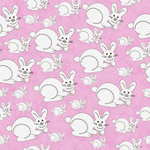 Pink and White Bunny Textured Fabric Repeat Pattern Background — Stock Photo