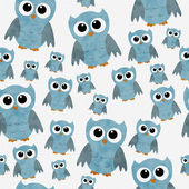 Blue Owls on White Textured Fabric Repeat Pattern Background — Stock Photo