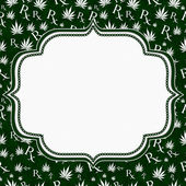 Green and White Marijuana Leaf and Prescription symbol Frame wit — Stock Photo