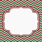 Red, Green and White Chevron Frame with Embroidery Background — Stock Photo