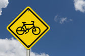 Bike Route Warning Sign — Foto Stock