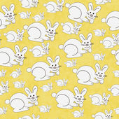 Yellow and White Bunny Textured Fabric Repeat Pattern Background — Stock Photo