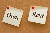 Own versus Rent — Stock Photo
