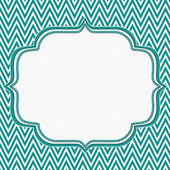 Teal and White Chevron Zigzag Frame Background — Stock Photo