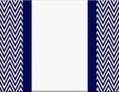 Navy Blue and White Chevron Zigzag Frame with Ribbon Background — Stock Photo