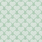 Green and White Chevron Hearts Pattern Repeat Background — Stock Photo