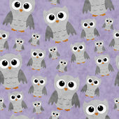 Gray Owls on Purple Textured Fabric Repeat Pattern Background — Stock Photo
