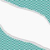 Teal and White Chevron  Zigzag Frame with Torn Background — Stock Photo