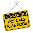Постер, плакат: Warning of leaving a dog in parked cars