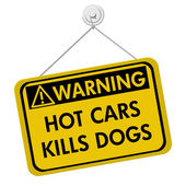 Warning of leaving a dog in parked cars — Stock Photo