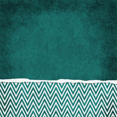 Square Teal and White Zigzag Chevron Torn Grunge Textured Backgr — Stock Photo