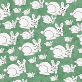 Green and White Bunny Textured Fabric Repeat Pattern Background — Stock Photo