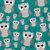 Gray Owls on Teal Textured Fabric Repeat Pattern Background — Stock Photo