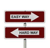 Hard Way versus Easy Way — Stock Photo