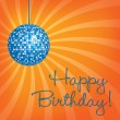 Blue disco ball Happy Birthday card — Foto de Stock