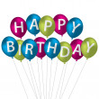 Multi coloured bright balloon bunch Happy Birthday card — Stock Photo #13620381