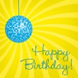 Yellow disco ball Happy Birthday card - Stock Photo