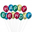 Multi coloured bright balloon bunch Happy Birthday card — Stock Photo #13620417