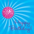 Magenta disco ball Happy Birthday card - Stock Photo