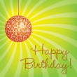 Orange disco ball Happy Birthday card - Stock Photo